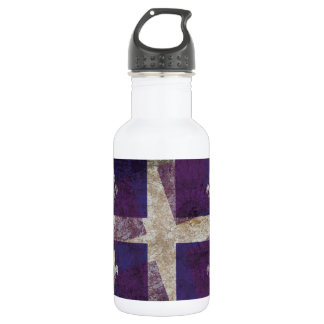 Bandera de Quebec del Grunge Botella De Agua De Acero Inoxidable