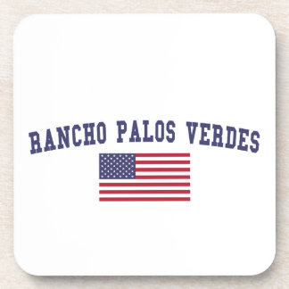 Bandera de Rancho Palos Verdes los E.E.U.U. Posavasos De Bebidas