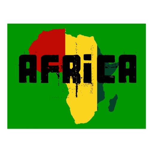 Bandera de Rasta del reggae de África del mapa de Tarjeta Postal