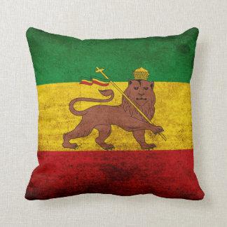 Bandera de Rastafarian del Grunge del vintage Cojín Decorativo
