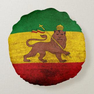 Bandera de Rastafarian del Grunge del vintage Cojín Redondo