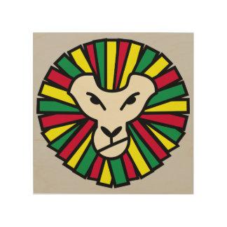 Bandera de Rastafarian del león Cuadro De Madera