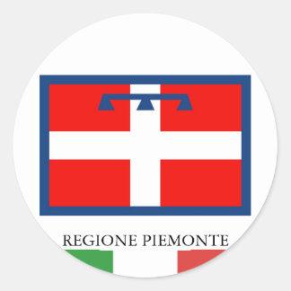 Bandera de Regione Piemonte Etiquetas Redondas