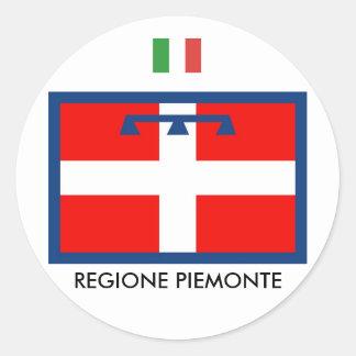 Bandera de Regione Piemonte Pegatina Redonda