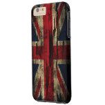 Bandera de Reino Unido de la pintura del Grunge Funda De iPhone 6 Plus Tough