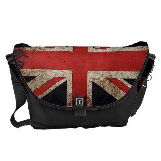 Bandera de Reino Unido del Grunge del vintage Bolsa De Mensajeria