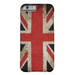 Bandera de Reino Unido del Grunge del vintage Funda De iPhone 6 Barely There
