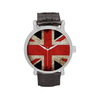Bandera de Reino Unido del Grunge del vintage Reloj De Mano