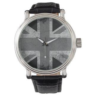 Bandera de Reino Unido del Grunge del vintage Reloj