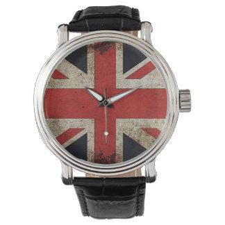 Bandera de Reino Unido del Grunge del vintage Relojes De Mano