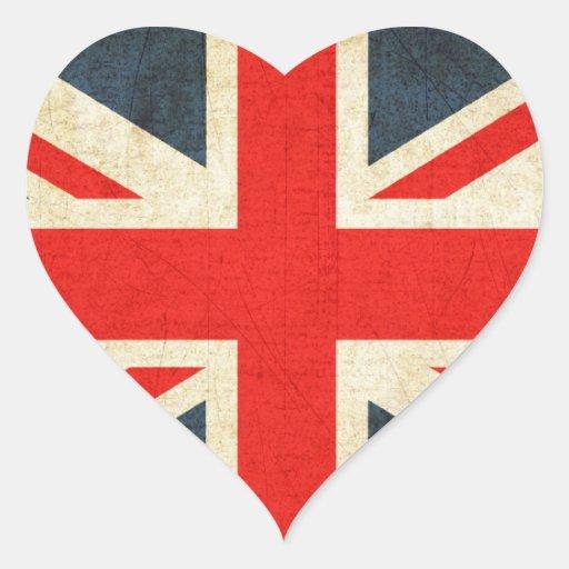 Bandera de Reino Unido del Grunge Pegatina En Forma De Corazón