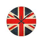 Bandera de Reino Unido del Grunge Reloj