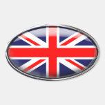 Bandera de Reino Unido en el óvalo de cristal Pegatina Ovalada