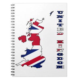 Bandera de Reino Unido en mapa Libretas Espirales