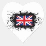 Bandera de Reino Unido Pegatina De Corazón Personalizadas