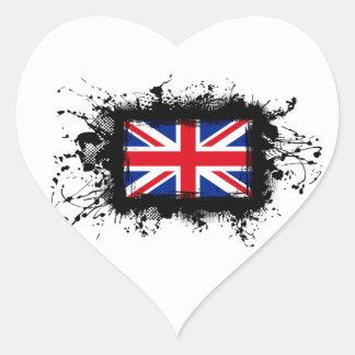 Bandera de Reino Unido Pegatina En Forma De Corazón