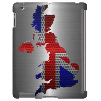 Bandera de Reino Unido y agujero de acero del meta Funda Para iPad