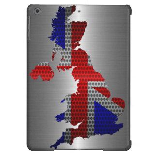 Bandera de Reino Unido y agujero de acero del meta Funda Para iPad Air