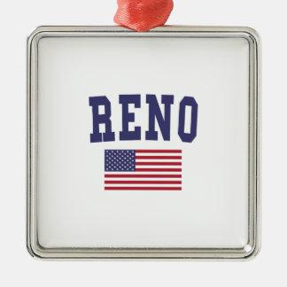 Bandera de Reno los E.E.U.U. Adorno Navideño Cuadrado De Metal