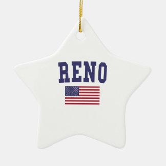 Bandera de Reno los E.E.U.U. Adorno Navideño De Cerámica En Forma De Estrella