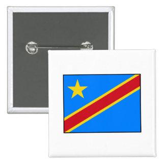 Bandera de República Democrática del Congo Pin Cuadrada 5 Cm