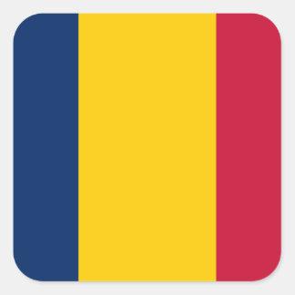 Bandera de República eo Tchad Pegatina Cuadrada