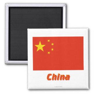Bandera de República Popular China con nombre Imán Cuadrado