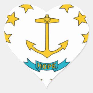 Bandera de Rhode Island Pegatina En Forma De Corazón