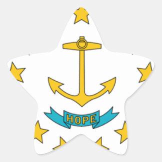 Bandera de Rhode Island Pegatina En Forma De Estrella