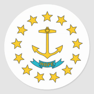 Bandera de Rhode Island Pegatina Redonda