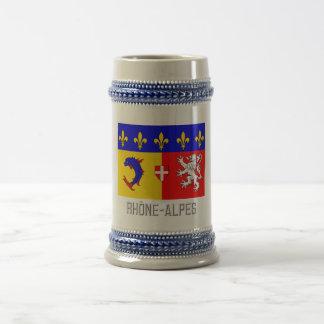Bandera de Rhône Alpes con nombre Taza De Café