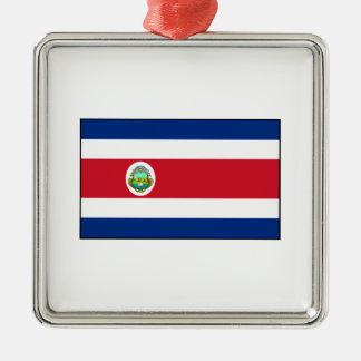 Bandera de Rican de la costa de Costa Rica Adorno Navideño Cuadrado De Metal