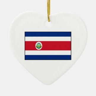 Bandera de Rican de la costa de Costa Rica Adorno Navideño De Cerámica En Forma De Corazón