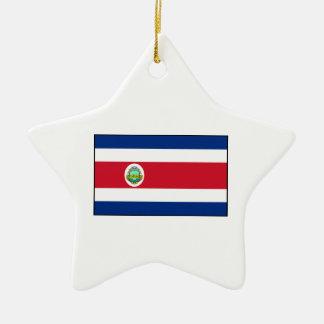 Bandera de Rican de la costa de Costa Rica Adorno Navideño De Cerámica En Forma De Estrella
