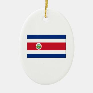 Bandera de Rican de la costa de Costa Rica Adorno Navideño Ovalado De Cerámica