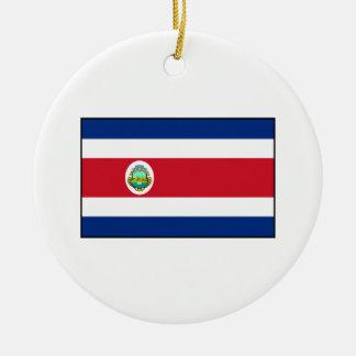 Bandera de Rican de la costa de Costa Rica Adorno Navideño Redondo De Cerámica