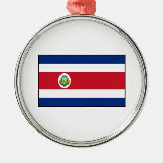 Bandera de Rican de la costa de Costa Rica Adorno Navideño Redondo De Metal