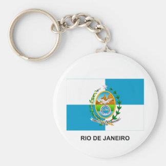 Bandera de Río de Janeiro, el Brasil Llavero Redondo Tipo Pin