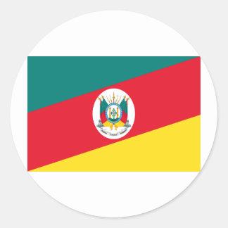 Bandera de Río Grande del Sur, el Brasil Pegatina Redonda