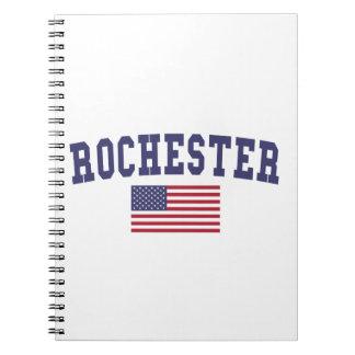 Bandera de Rochester NY los E.E.U.U. Libro De Apuntes Con Espiral