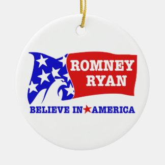 Bandera de Romney Ryan Eagle Ornamentos De Reyes