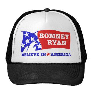 Bandera de Romney Ryan Eagle Gorras De Camionero