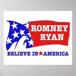Bandera de Romney Ryan Eagle Impresiones