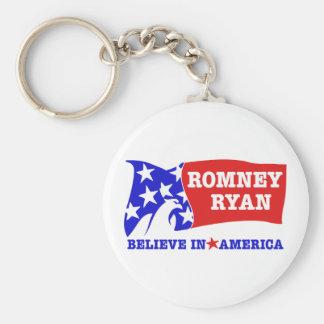 Bandera de Romney Ryan Eagle Llavero Redondo Tipo Pin