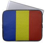 Bandera de Rumania con efecto de la fibra de carbo Fundas Ordendadores