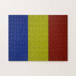 Bandera de Rumania con efecto de la fibra de carbo Puzzle
