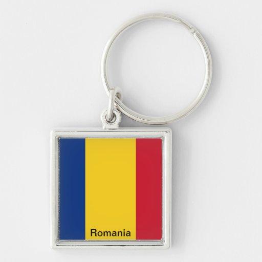 Bandera de Rumania Llavero Cuadrado Plateado