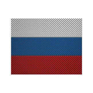 Bandera de Rusia con efecto de la fibra de carbono Lienzo Envuelto Para Galerías
