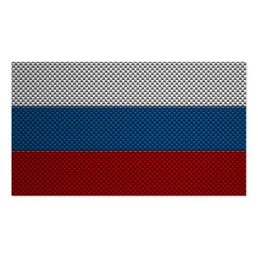 Bandera de Rusia con efecto de la fibra de carbono Tarjetas De Visita