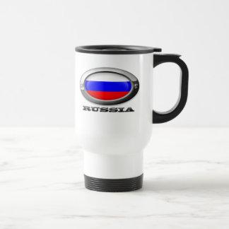 Bandera de Rusia en el marco de acero Tazas De Café